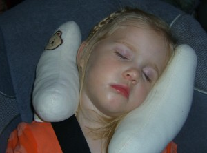 Sleeping with a travel pillow